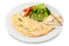 Omelette with ham, tomato and cucumber Stock Photos