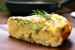 Omelette with herbs, cheese and zucchini Royalty Free Stock Photo