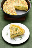 Omelette with herbs, cheese and zucchini Stock Images