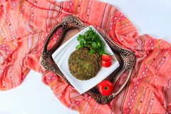 Omelette with herbs, traditional Azerbaijani cuisine. Top view. Royalty Free Stock Photography