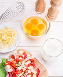 Omelette ingredients. Royalty Free Stock Photography