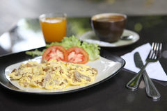 Omelette with mushroom and bacon Royalty Free Stock Photos