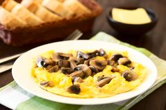 Omelette with Mushroom. Homemade omelette with mushroomon on plate, bread basket and butter in the back, photographed with natural light Selective Focus, Focus royalty free stock images