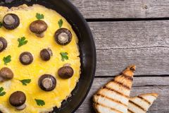 Omelette with mushroom. And parsley in pan . Frittata stock photography