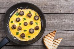 Omelette with mushroom. And parsley in pan . Frittata royalty free stock photos