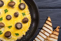 Omelette with mushroom. And parsley in pan . Frittata royalty free stock images