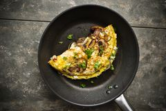 Omelette with mushrooms Stock Photography