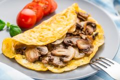 Omelette with mushrooms. Homemade omelette with mushrooms on a plate Royalty Free Stock Image