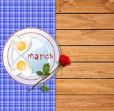 Omelette on plate with ketchup 8 march letters and red rose on w. Happy womens day template with number eight shaped omelette on plate with ketchup 8 march royalty free illustration