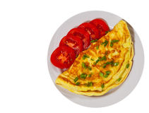 Omelette on plate. top view. isolated stock image