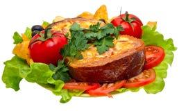 Omelette pour le pain de petit déjeuner Photographie stock