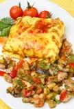 Omelette remplie de la viande et de légume image stock