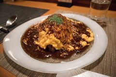 Omelette Rice in Kyoto. Famous Omelette Rice in Kyoto. April 22, 2017 stock images