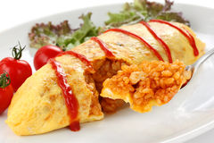 Omelette rice,omurice, japanese food Royalty Free Stock Photos