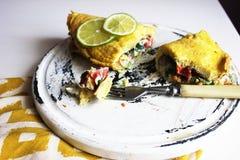 Omelette riempita messicano Fotografie Stock