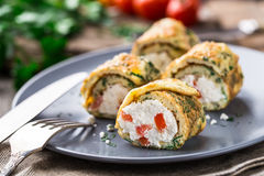 Omelette rolls with curd Stock Photography