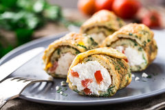 Omelette rolls with curd Royalty Free Stock Photos