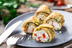 Omelette rolls with curd Royalty Free Stock Images