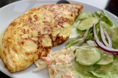 Omelette and Salad Royalty Free Stock Photos
