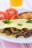 Omelette serica piegata dei funghi Immagini Stock