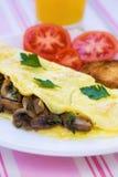 Omelette serica piegata dei funghi Immagine Stock Libera da Diritti