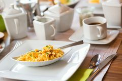 Omelette served for breakfast Stock Photos
