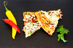 Omelette Slices. On a plate Royalty Free Stock Photography