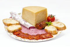 Omelette spagnola con il chorizo Iberico Fotografie Stock