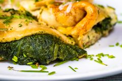 Omelette with spinach, closeup. Omelette with spinach filling and chive, closeup on white plate stock photos