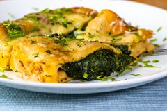 Omelette stuffed with spinach. Gratin omelette stuffed with steamed spinach and sprinkled with chive herb on white plate, closeup stock image