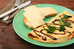 Omelette with toast and cheese Stock Image