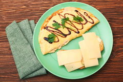 Omelette with toast and cheese Royalty Free Stock Image