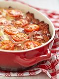 Omelette with tomato and sausage Stock Photos