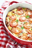 Omelette with tomato and sausage Royalty Free Stock Photography