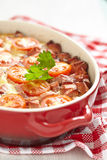 Omelette with tomato and sausage Stock Photo