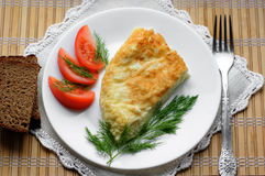 Omelette with tomatoes and dill Stock Photos