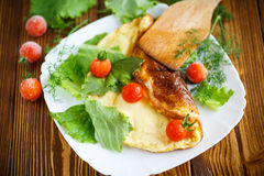 Omelette with tomatoes and lettuce Stock Image
