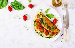 Omelette with tomatoes, spinach and green onion on white plate Stock Images