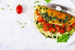 Omelette with tomatoes, spinach and green onion on white plate Royalty Free Stock Images