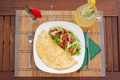 Omelette with vegetable salad Stock Images