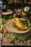 Omelette vegetariana Immagini Stock