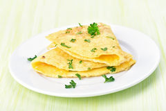 Omelette on white olate Stock Photography