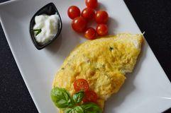 Omelette with yoghurt herbs and tomatoes. Cooking at home with your family Royalty Free Stock Photos