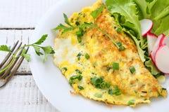 Omelette z rzodkwiami, cebulami i sałatą, fotografia royalty free