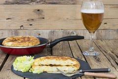 Omelette z szkłem piwo Zdjęcie Stock
