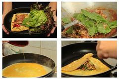 Omelettet stekte kryddig basilika med griskött, aubergine, linser, akacian, chi Arkivfoto
