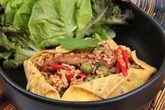 Omelettet stekte kryddig basilika med griskött, aubergine, linser, akacian, chi Royaltyfria Bilder