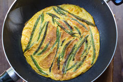 Omelettharicot vert royaltyfria bilder