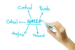 Omen hand writing meaning of HACCP concept (Hazard Analysis of Critical Control Points) on white background Stock Photos