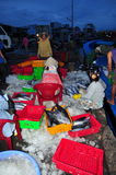 Omen workers are collecting and sorting fisheries into baskets after a long day fishing in the Hon Ro seaport, Nha Trang city Royalty Free Stock Photos